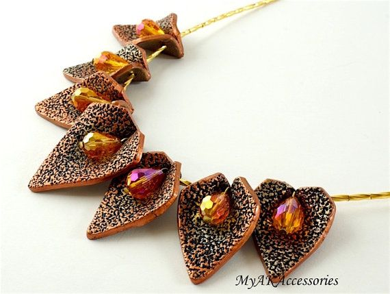 Modern polymer clay necklace with fall leafs by MyAKAccessories