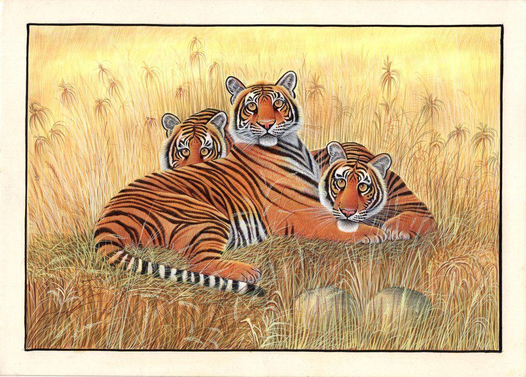 Bengal Indian Tigers Painting Handmade Wildlife Animal