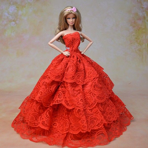 BArbie Doll Dress in Red Lace | Barbie Beautiful Gowns | Pinterest ...