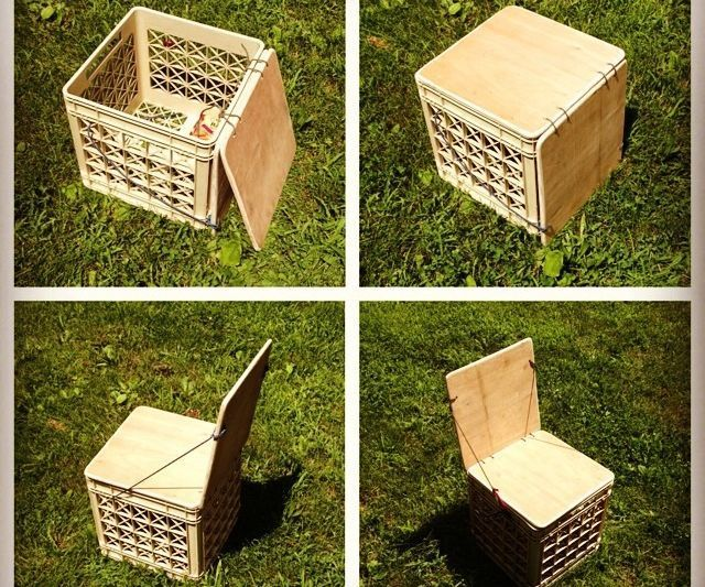 Milk Crate Chair For Camping Or Vinyl Storage Upgrade Milk Crate Seats Crate Seats Milk Crate Chairs