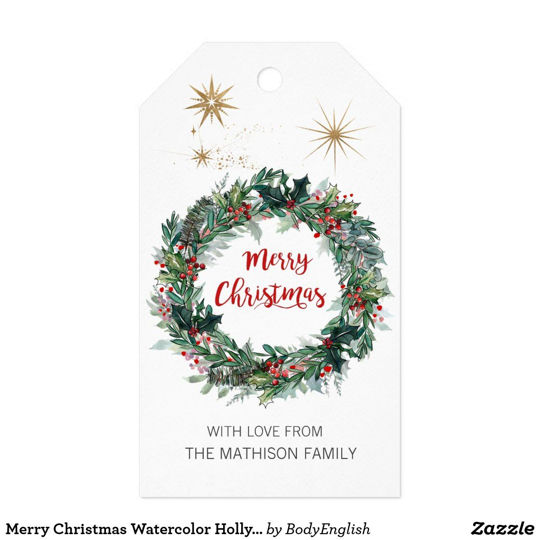 Merry Christmas Watercolor Holly Berry Foliage Gift Tags #merrychcristmasgifttag #christmaswreathgifttag #christmas #merrychristmas