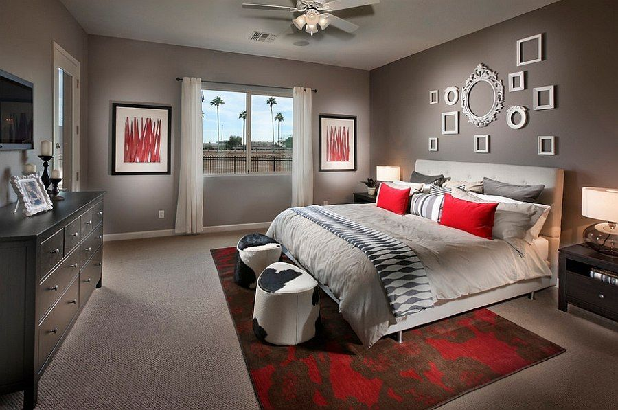 Fashionable footstools bring the cowhide trend to the bedroom Polished Passion: 19 Dashing Bedrooms in Red and Gray!