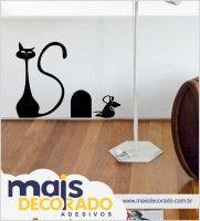 Adesivos decorativos para casa - decoração de gatinho e o ratinho muito bom gosto e criativo