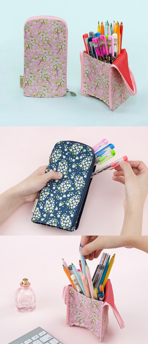 Does this pencil case have something special? Yes! It can stand on its own so that you can take out the pens and pencils inside more conveniently!