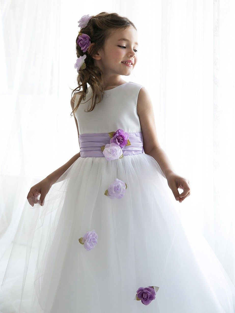 White Lilac Satin And Tulle Flower Rosette Skirt Flower Girl Dresses