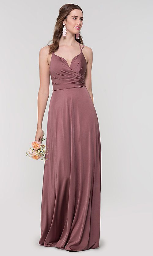 19f2d03bf93 Image of strappy-open-back Kleinfeld long bridesmaid dress. Style   KL-200152 Detail Image 1