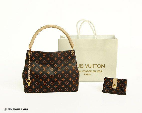 Dollhouse Miniatures L9 Lv Designer Handbags With Por Dollhouseara 46 00