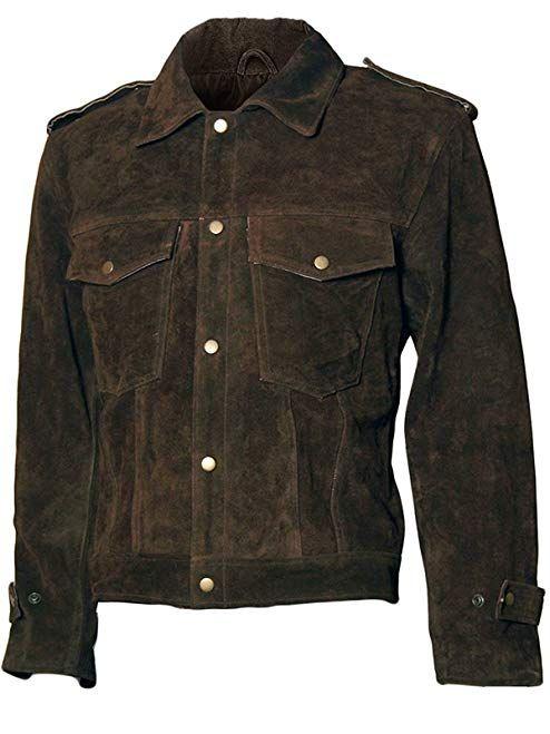 47ce6e0cb Spazeup John Beatles Soul Brown Rubber Lennon Suede Leather Jacket ...