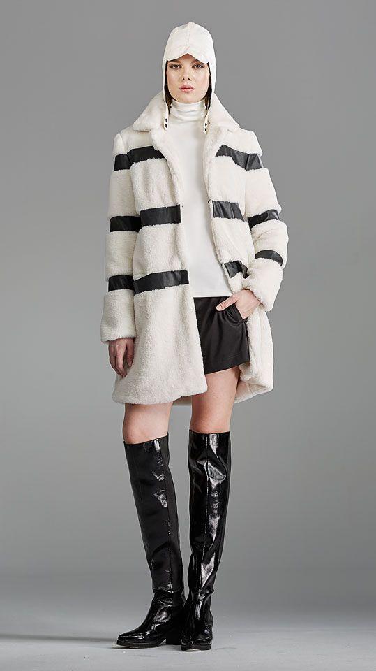 Vizon fur jacket with black stripes