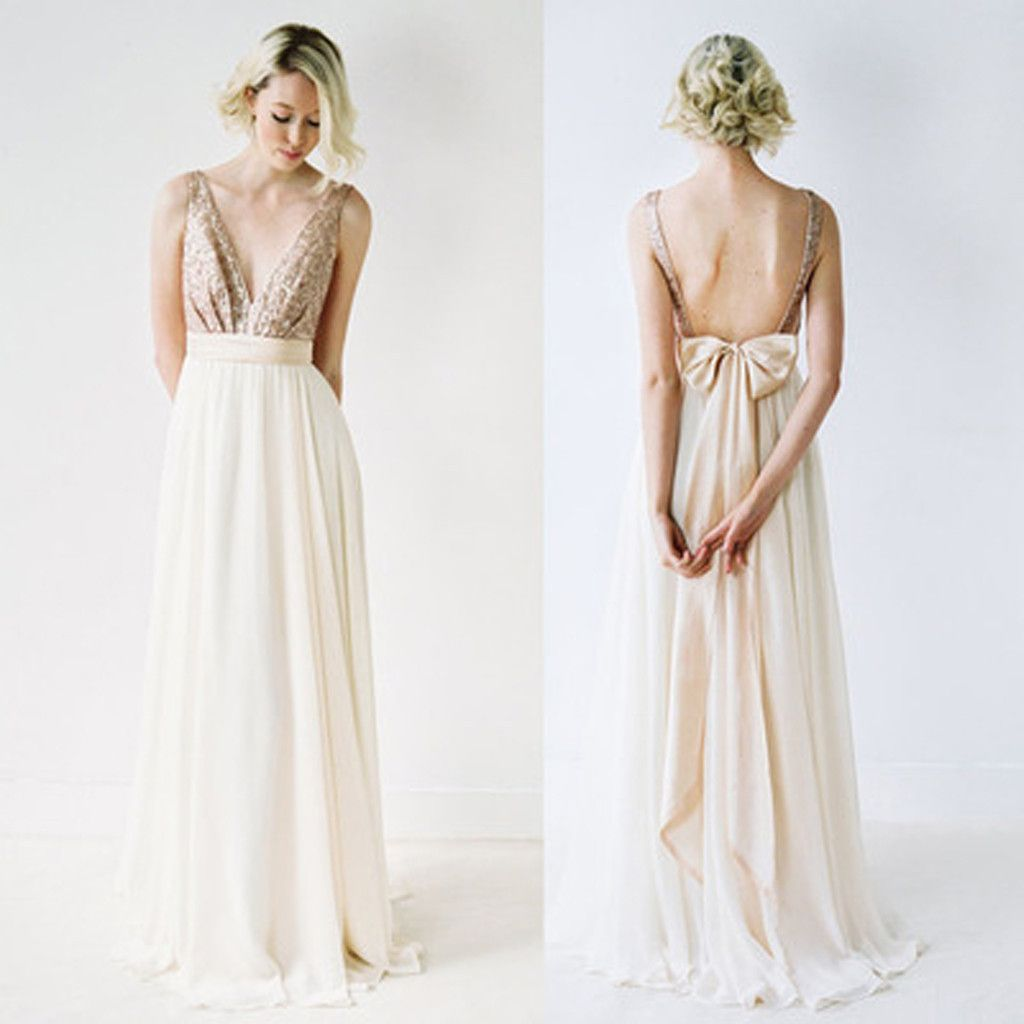 Wedding dresses v neck  Off Shoulder Top Sequin Prom Dress VNeck Junior Pretty Long