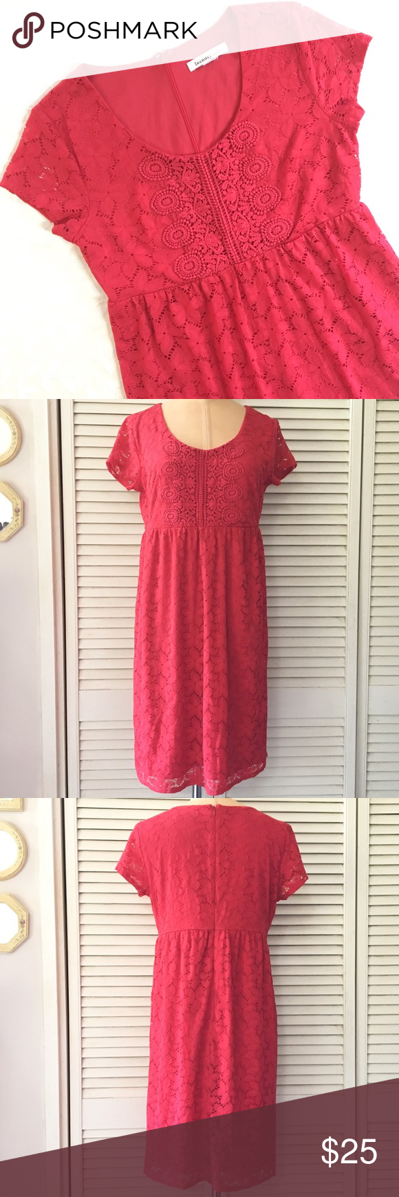 Laundry by Design Women s Red Dress - Size tag has been removed Size  SMALL  (based on measurements) - Please see measurements to ensure a proper fit -  Lace ... 85d30a6751