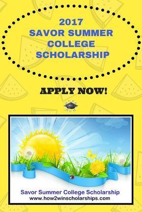 2017 Savor Summer College Scholarship Scholarships For College Financial Aid For College Education College