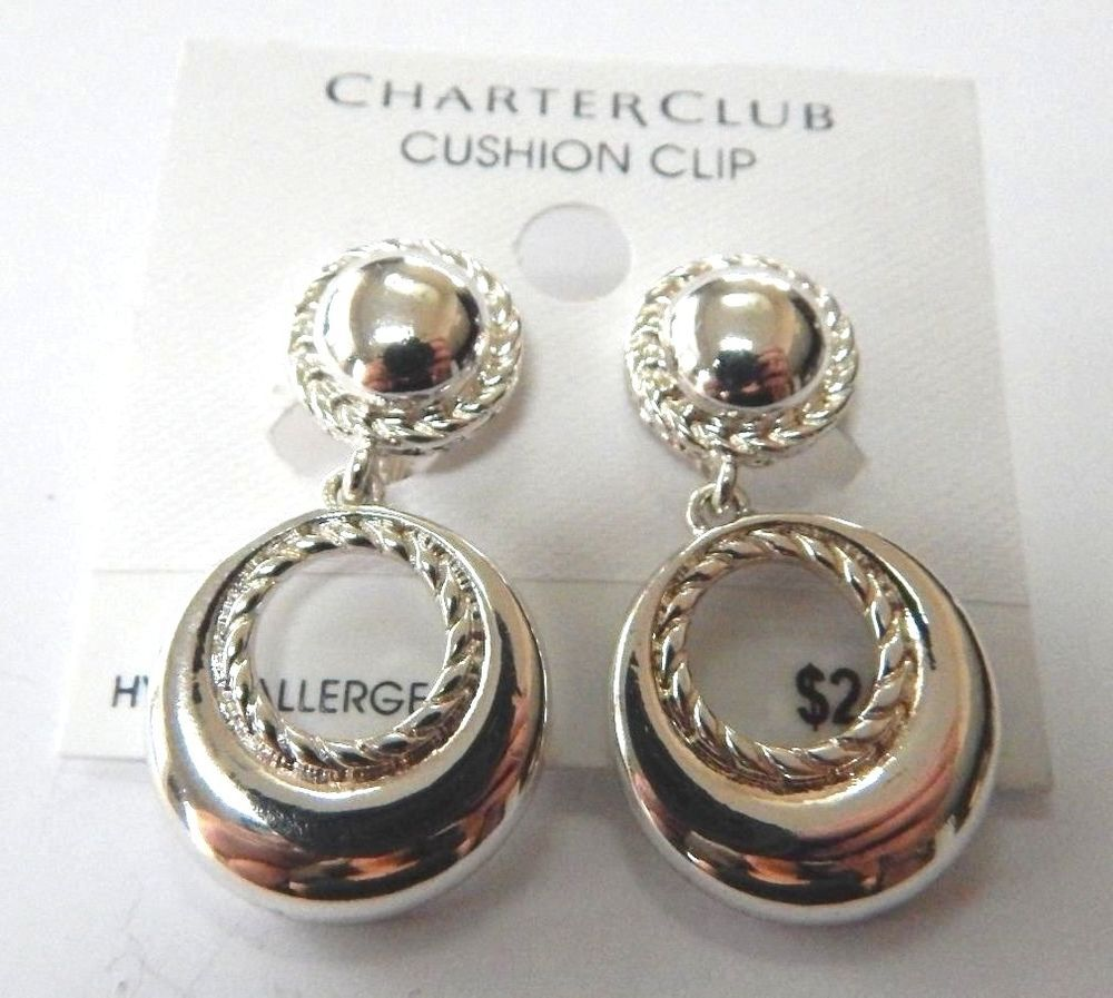 Charter Club Silver Tone Drop Danglecushion Clip On Earrings New Charterclub Dropdangle Jewelry Pinterest Dangles