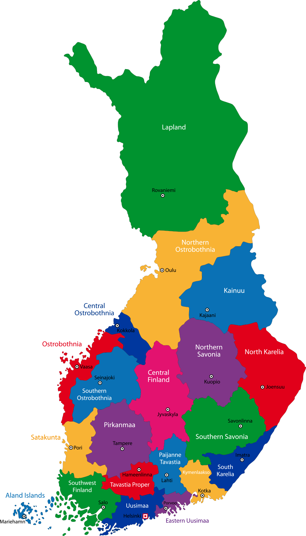 Finland Map with cities - blank outline map of Finland ...