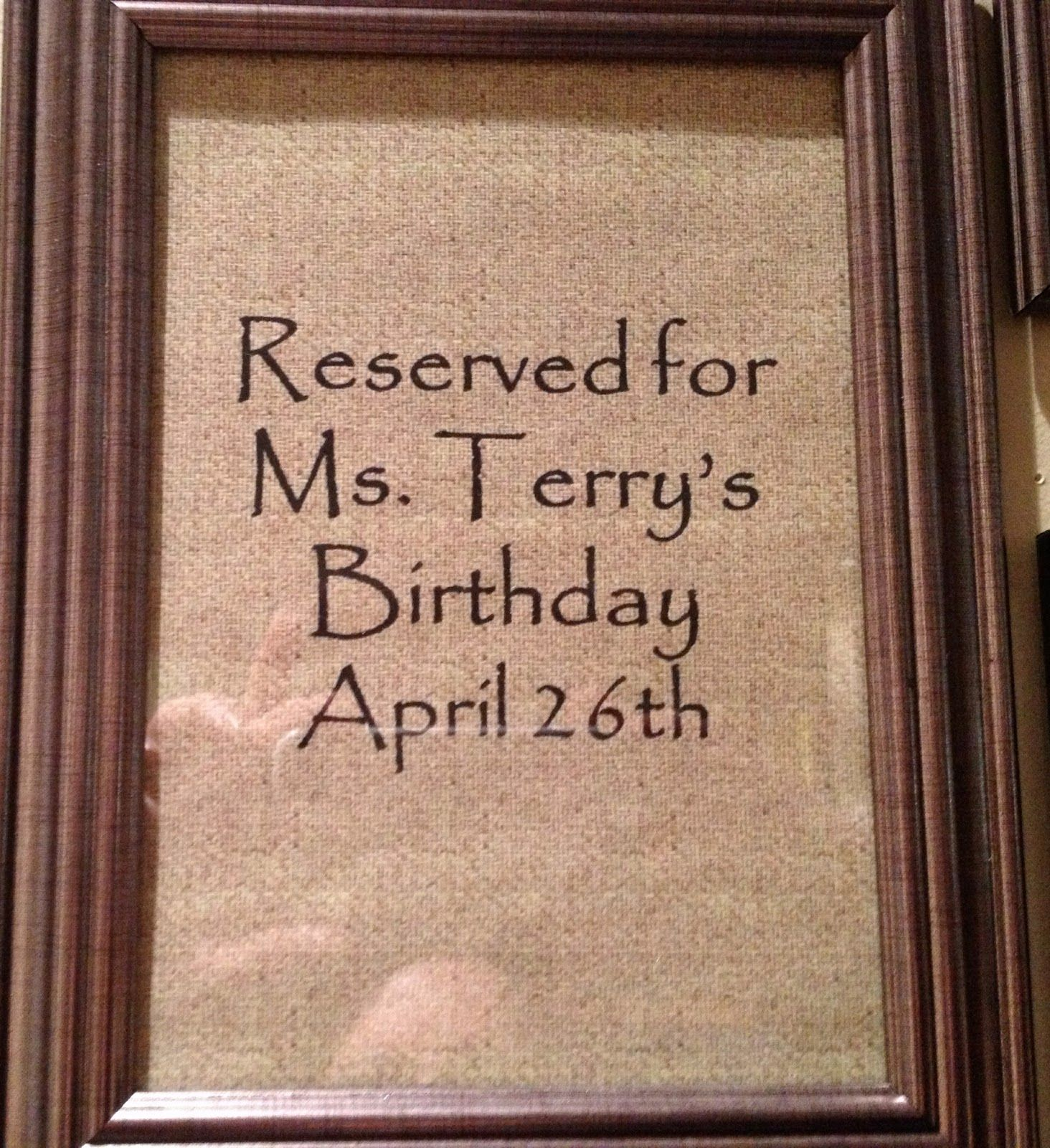 Example of waiting frame for birthday decorating!