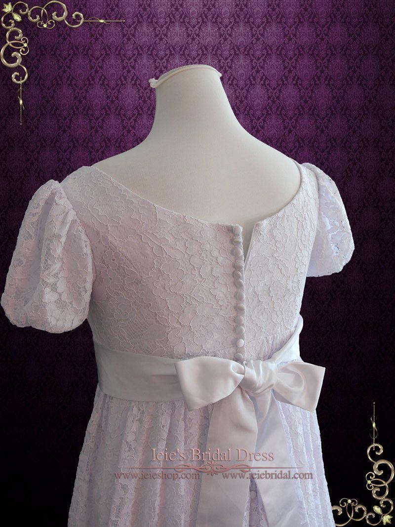 Edwardian regency style empire waist lace wedding dress harriet
