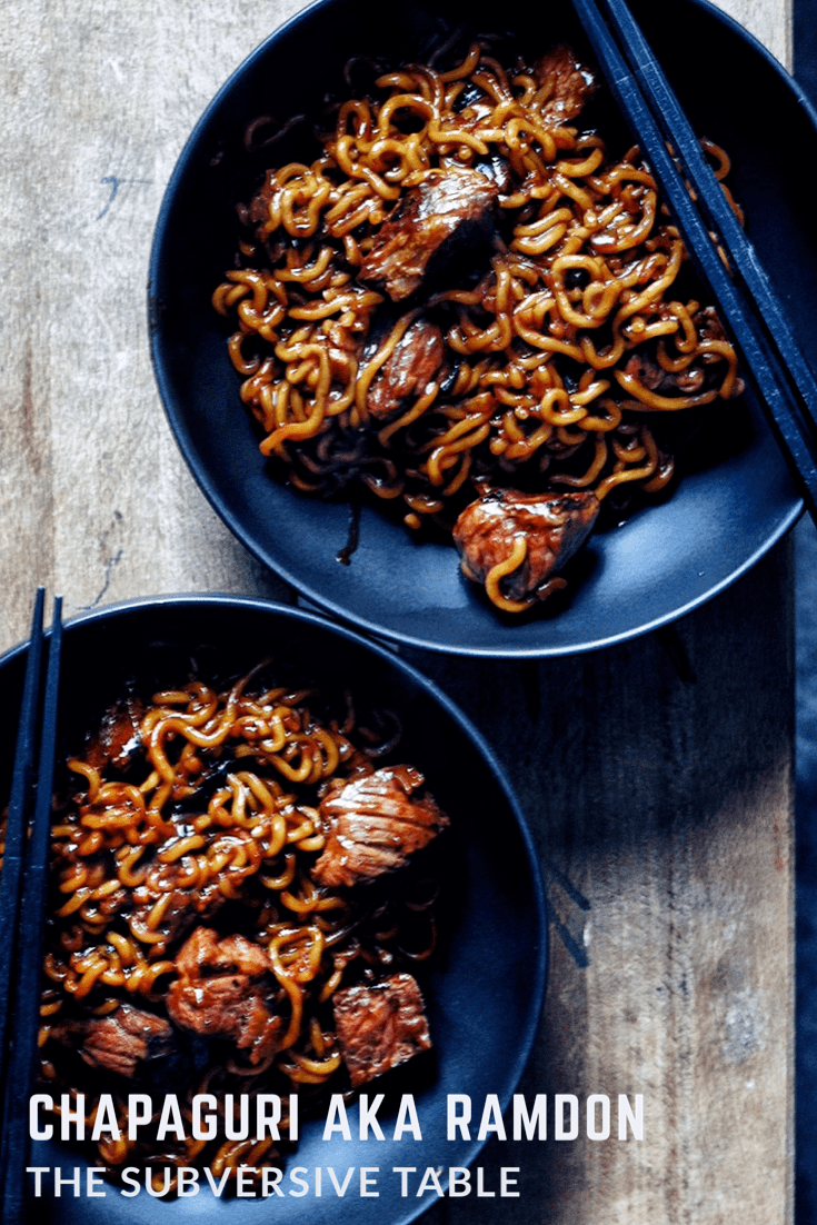 Chewy noodles. Saucy and a little spicy. Indulgent bites of steak. Chapaguri aka