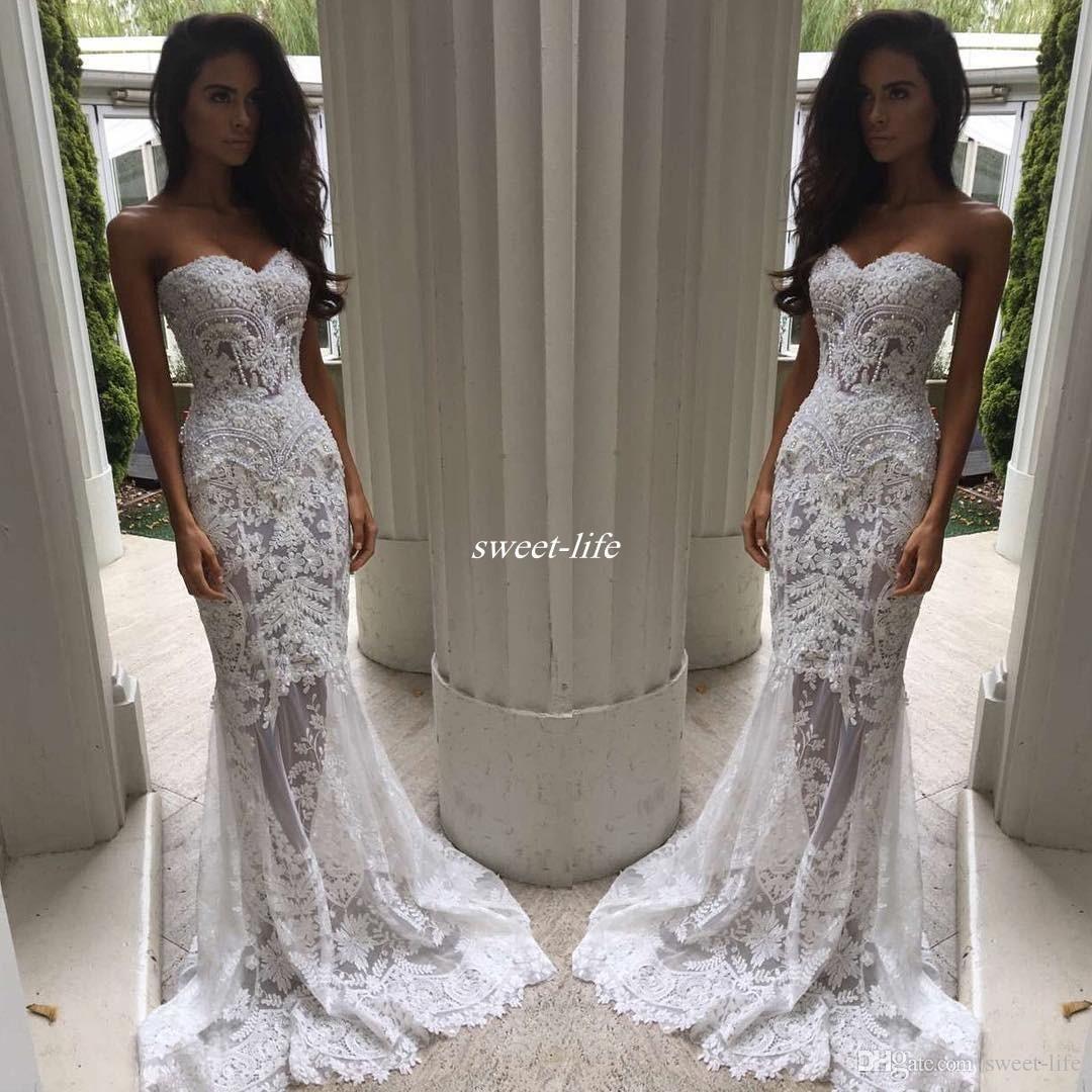 Romantic Boho White Mermaid Wedding Dresses Heavy Embellishment