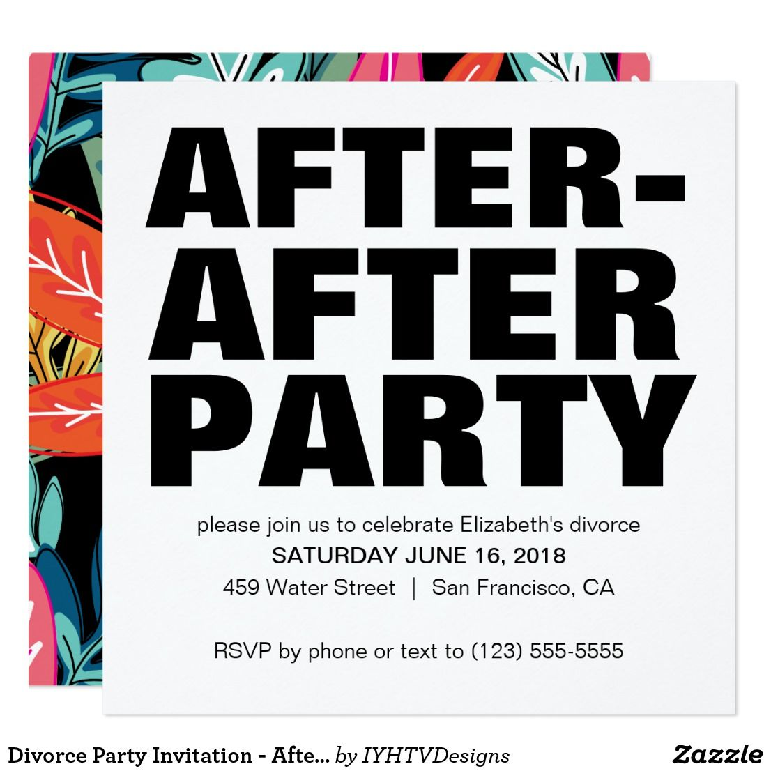 Divorce Party Invitation - After After Party | Divorce party and ...