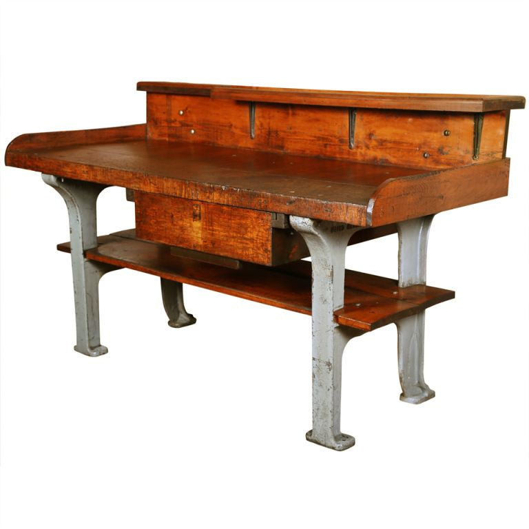 Vintage Industrial Rustic Wood & Cast Iron Work Bench - Table ...