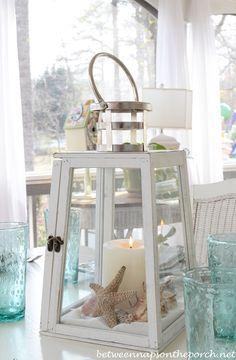 Beach Table Setting With Lighthouse Lantern Centerpiece | Pinterest ...