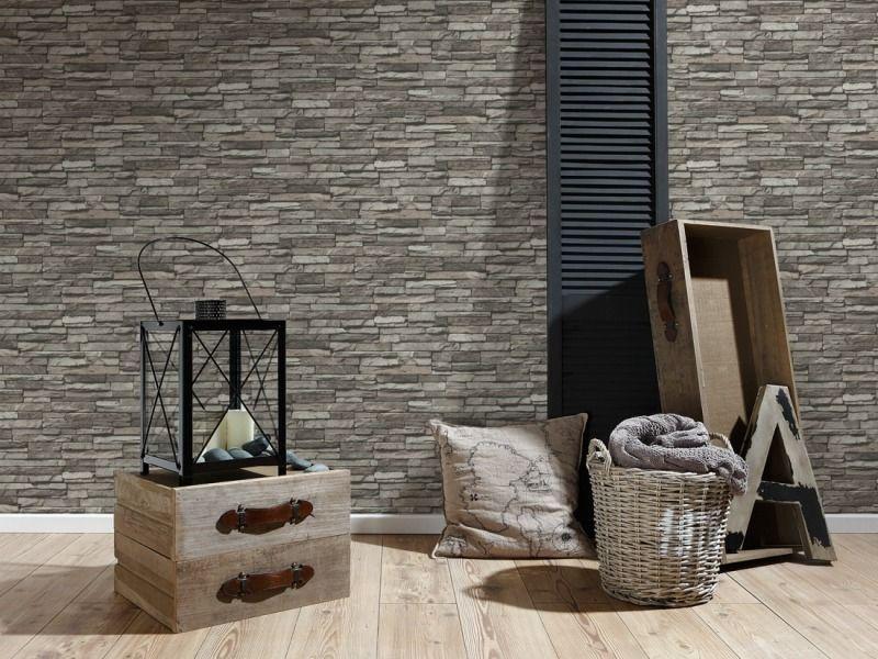 STEEN VLIES BEHANG GRIJS BEIGE TAUPE 3D X22 | interieur | Pinterest ...