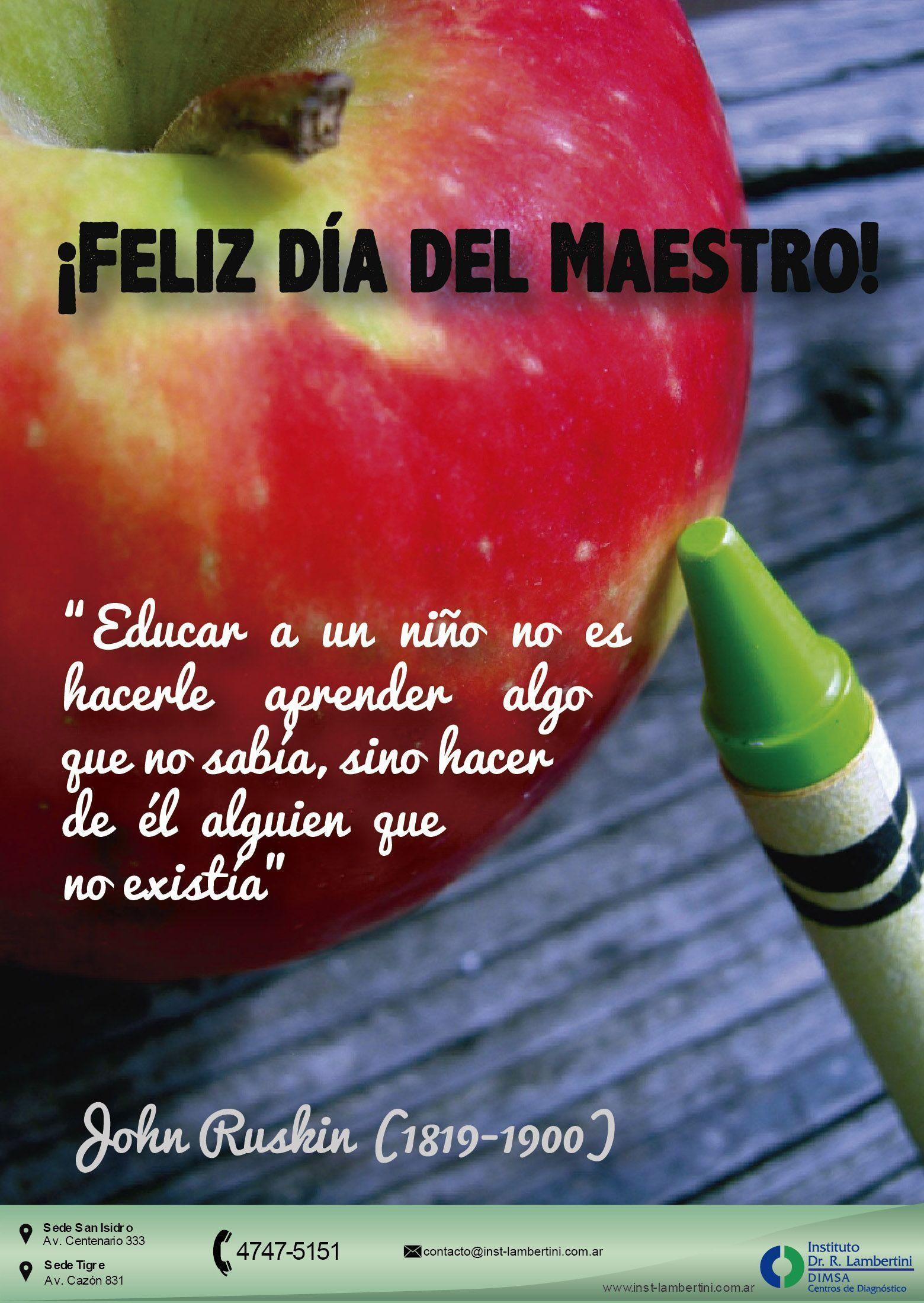 """Feliz día del MAESTRO Como cada 11 de septiembre, se celebra hoy el Día del Maestro en nuestro país y todo Latinoamérica. La fecha, es un homenaje """"al padre del aula"""", Domingo Faustino Sarmiento. Queremos agradecer a estos prestigiosos profesionales ya que con su dedicación y amor ayudan a crear un mundo mejor para todos. #díadelmaestro #educación www.inst-lambertini.com.ar #diadelmaestro Feliz día del MAESTRO Como cada 11 de septiembre, se celebra hoy el Día del Maestro en nuestr #diadelmaestro"""