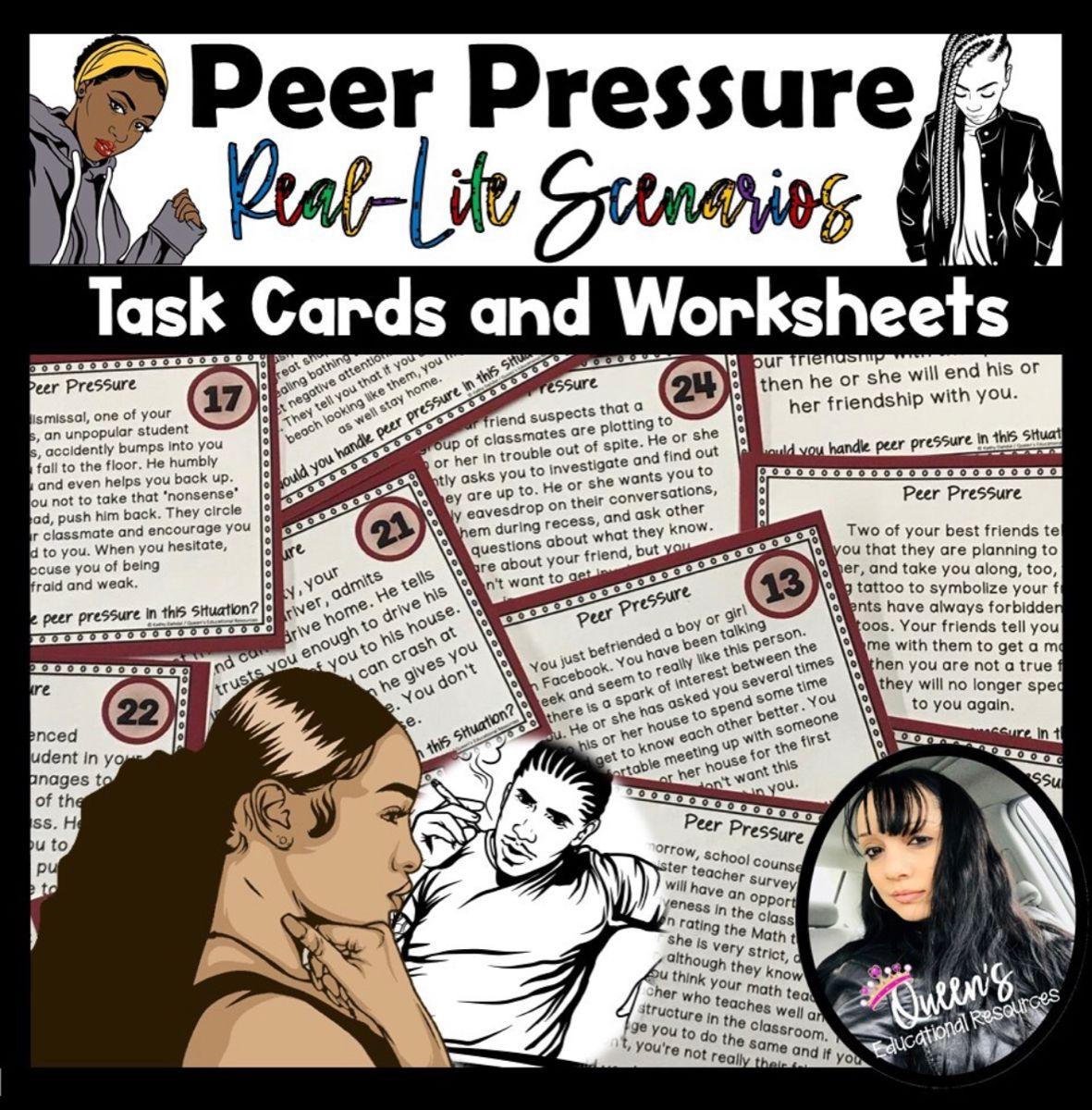 Peer Pressure Scenario Task Cards And Worksheets