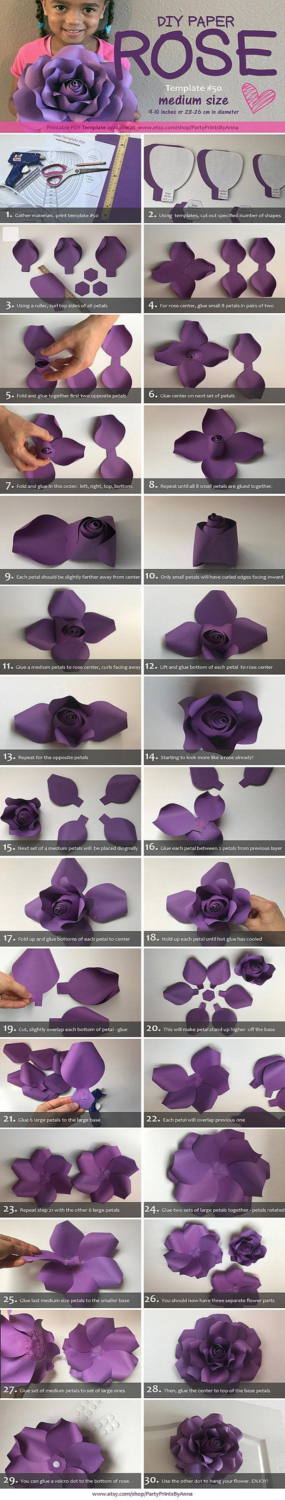 Paper Flower Template Printable Paper Rose Template DIY Paper Rose