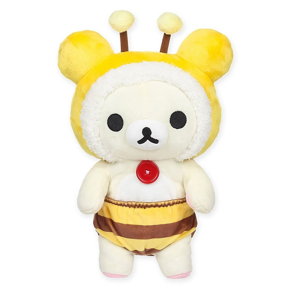 Rilakkuma Korilakkuma Bee Plush Toy In Yellow - An adorable addition to your little one's stuffed animal collection, the Rilakkuma Korilakkuma Bee Plush Toy is inspired by the Japanese cartoon characters designed by San-X. This adorable little bear cub is dressed in a bee outfit that is too cute.