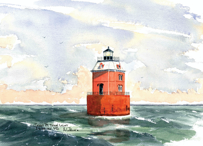 Sandy Point Shoal Lighthouse, Skidmore Watercolor prints and note cards of over 250 lighthouses all over the USA. Start your collection today. Original paintings by sailor/artist Alfred La Banca, Darien, CT