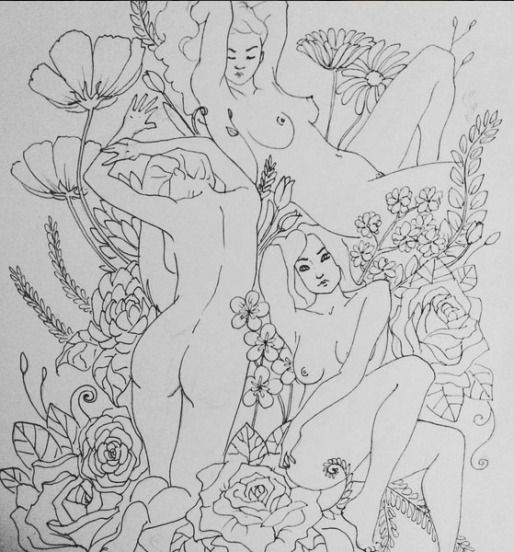 Horny naked girls coloring pages for adults only — img 14