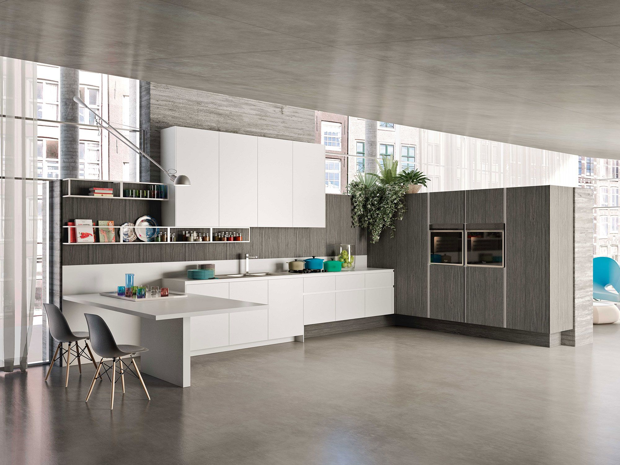 Modern kitchens #Way with Artic white and tundra elm melamine doors ...