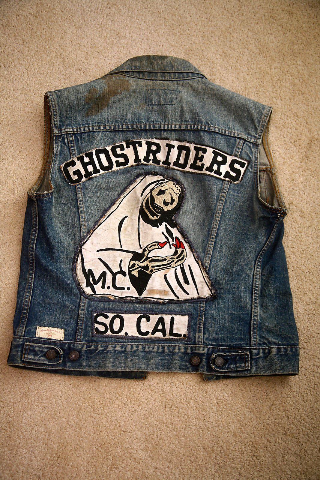 Vintage Motorcycle Club Vest Ghostriders Back Motorcycle Clubs Vintage Motorcycle Biker Clubs