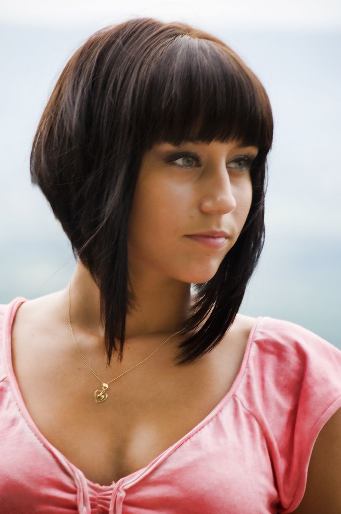 steep angled bob with bangs haircut