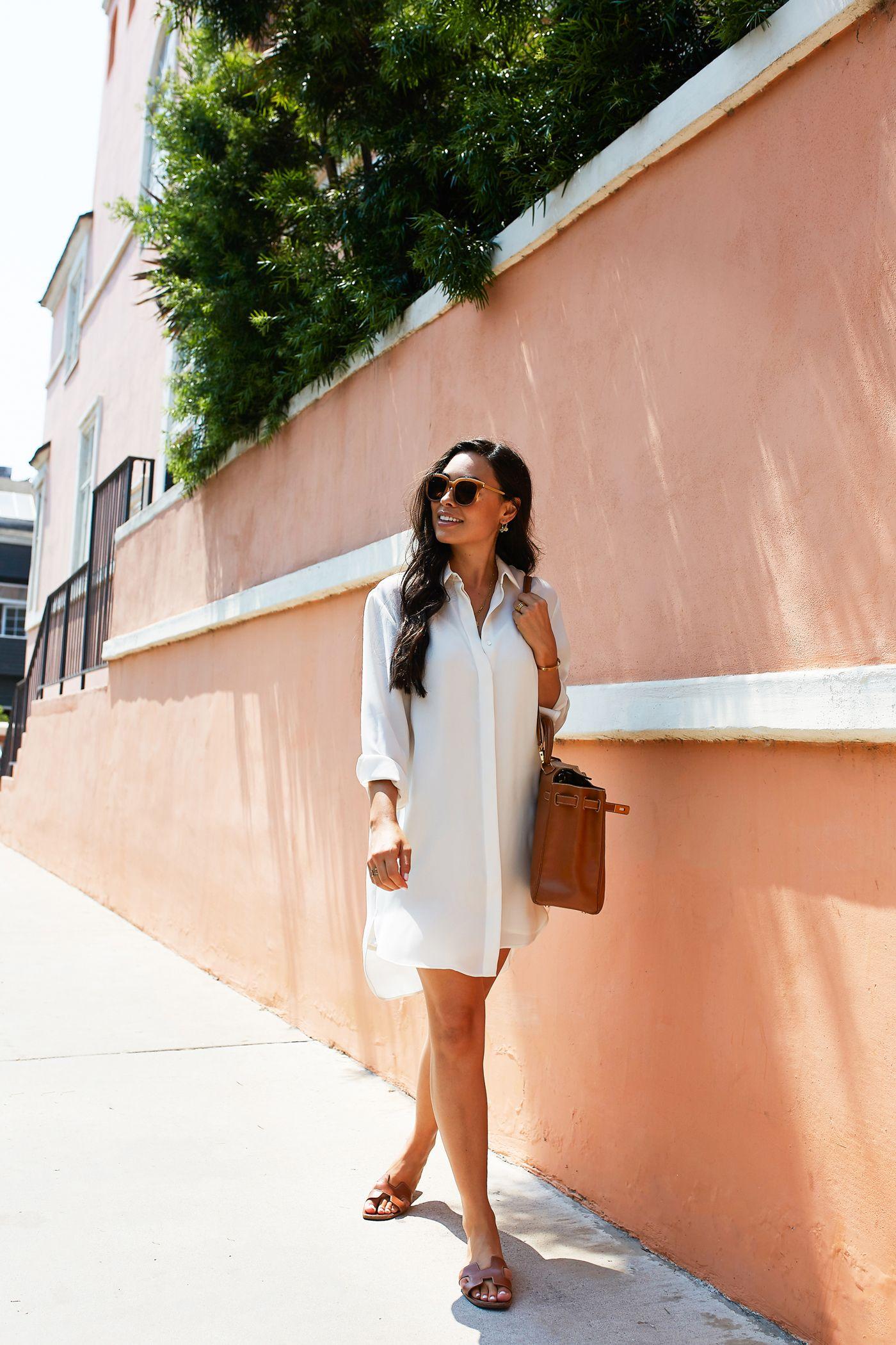 10be0eaa530 Spring Fashion · Crisp White Shirtdress+brown  cognac slide sandals+brown   cognac bucket-bag