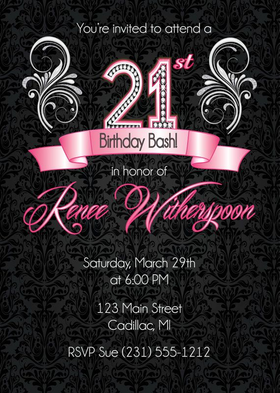 21st Birthday Invitation Party Silver