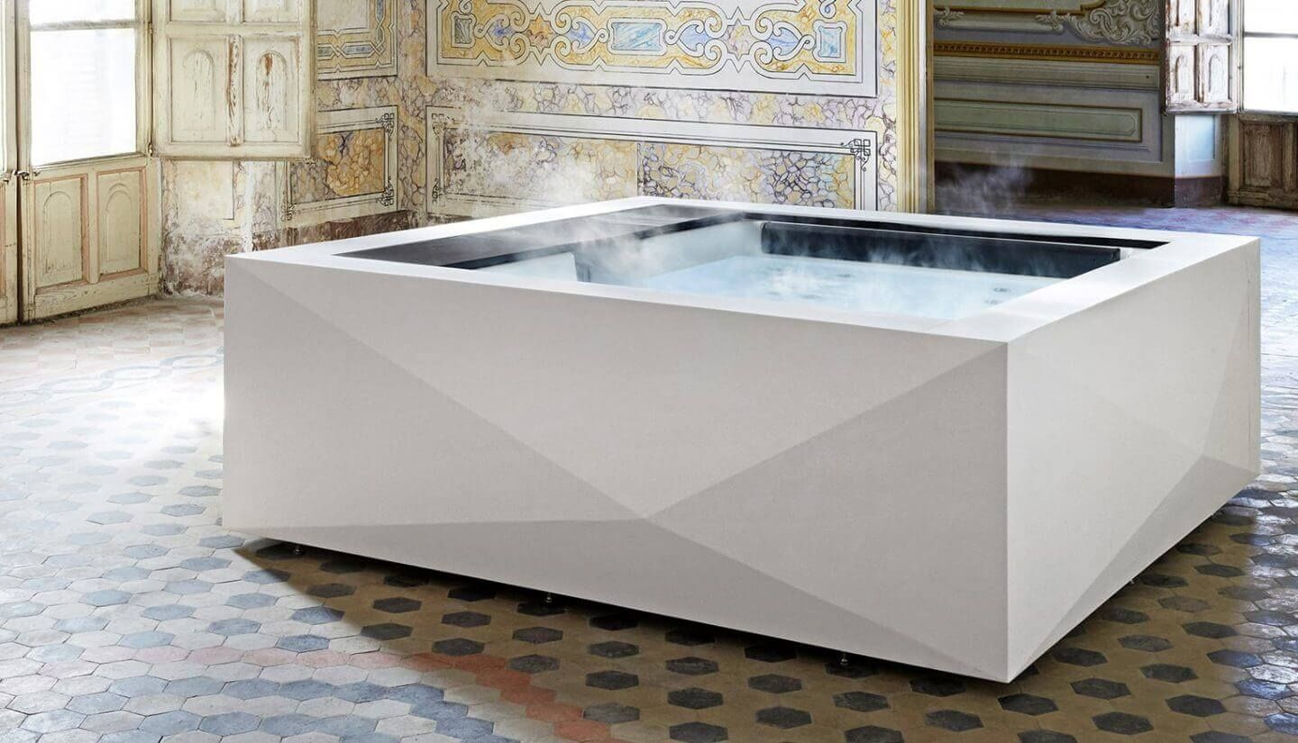The Origami Is A Top Of The Range Hot Tub For 4 People It Can Be Used Indoors And Outdoors And Is Covered By Up To 15 Y Indoor Hot Tub Hot Tub Luxury