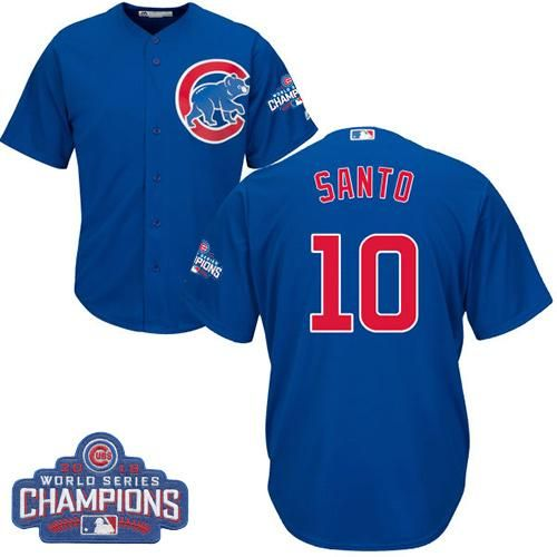 cubs 10 ron santo blue alternate 2016 world series champions stitched youth mlb jersey