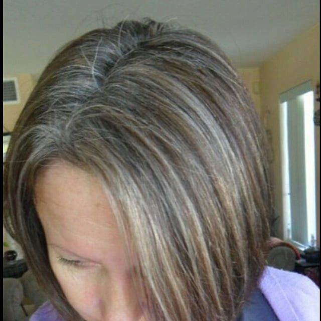 Gray Hair Susan Put In Lots Of Hi Lites Then Toned Them Gray To Blend Blending Gray Hair Transition To Gray Hair Gray Hair Growing Out