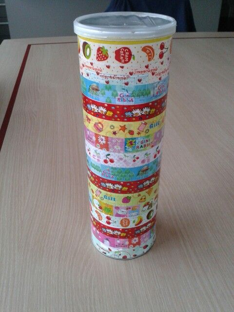 Pringles container and washi tape