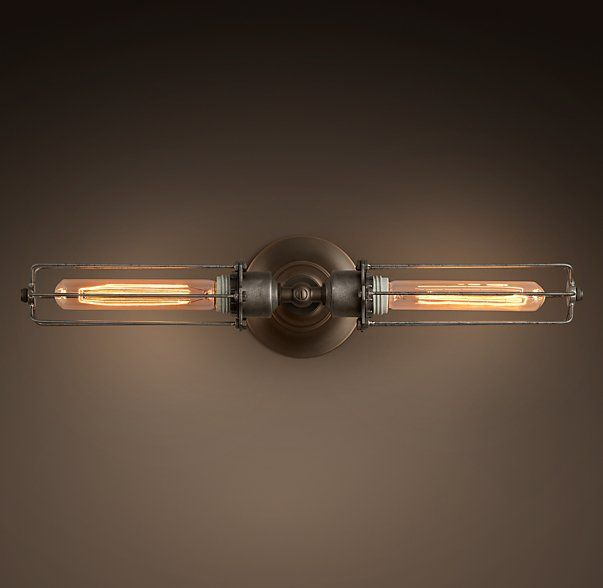 Edison Caged Inline Double Sconce | Bathroom!! | Pinterest | Inline ...