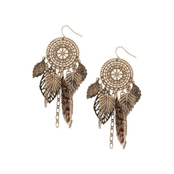 Leopard Print Feather Dream Catcher Drop Earrings | Claire's (48 AUD) ❤ liked on Polyvore featuring jewelry, earrings, leopard print jewelry, leopard print earrings, claire's, claires earrings and leopard jewelry