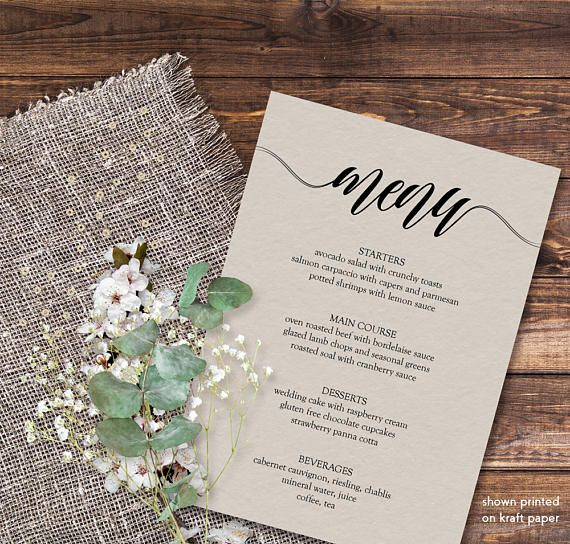 Dinner party menu template, Printable menu template, 5x7 menu - dinner party menu template