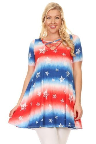 Plus Size Tie Dye Patriotic Red White Blue Stars Flag Tunic ...