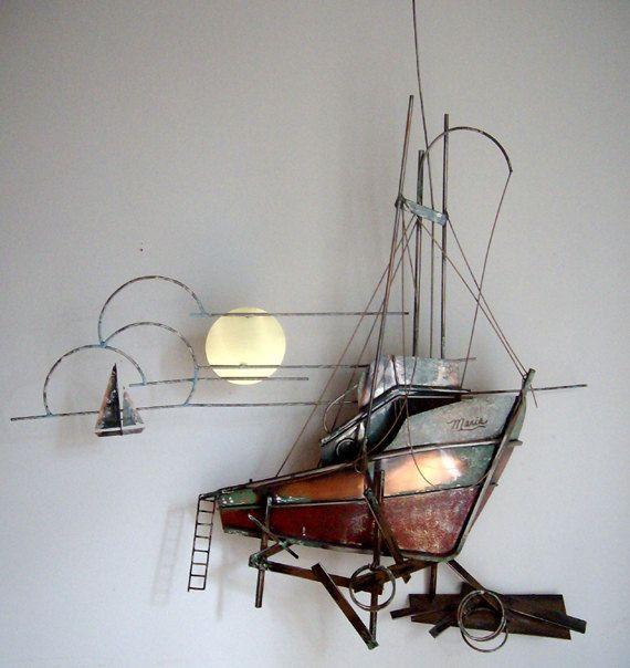 Metal Art Wall Sculpture Ship Sailboat And Moon Metal Wall