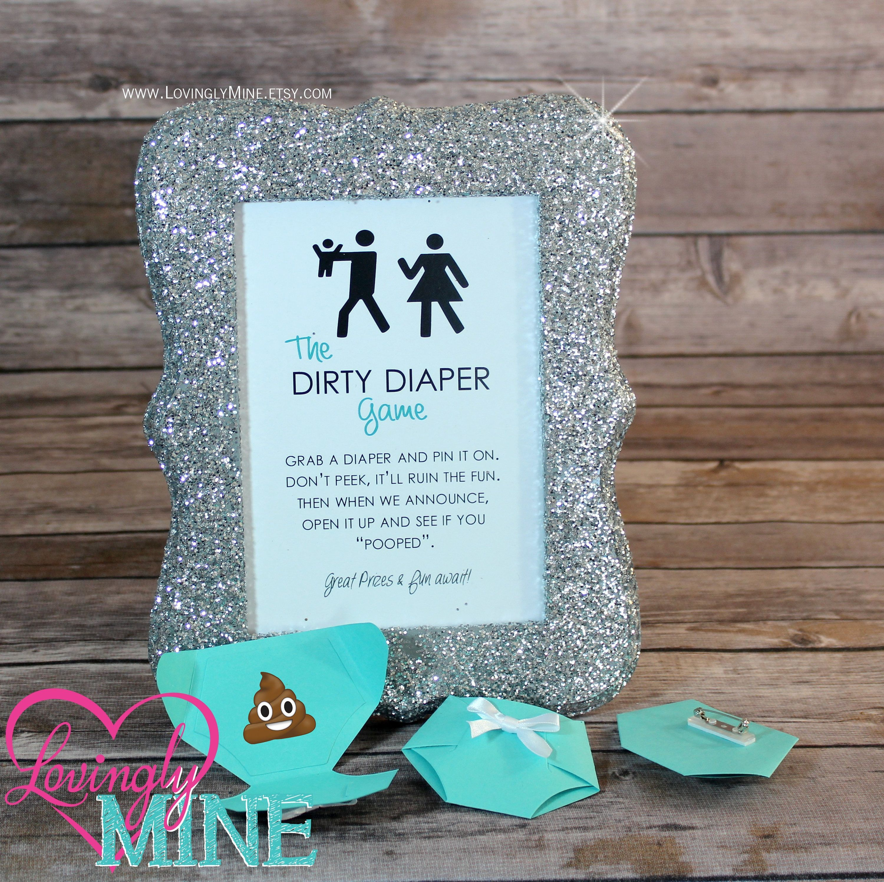 Lovely Dirty Diaper Game Light Teal Diaper Pins And Matching Silver Glitter Frame    Baby Shower Games   Additional Colors Available