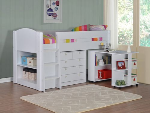 Frankie Midsleeper White Cabin Bed With Storage Mid