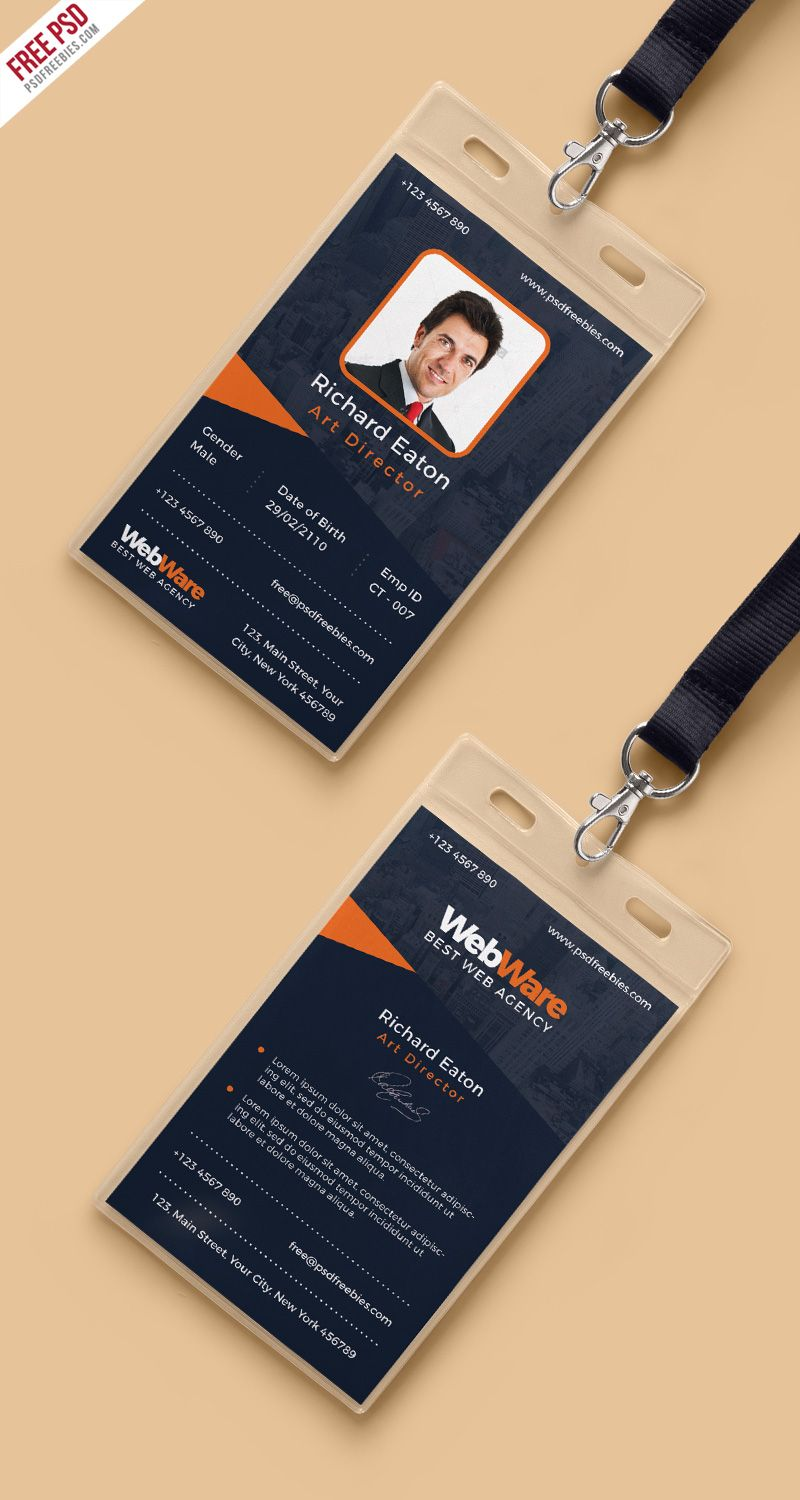 Vertical Company Identity Card Template PSD | Card templates ...