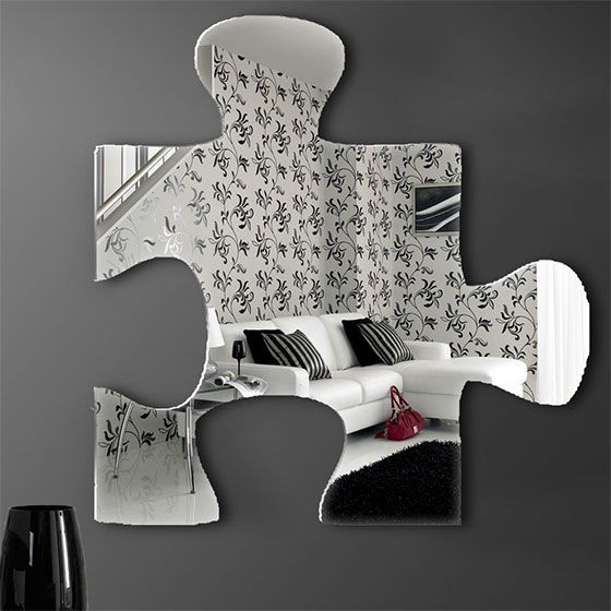 Puzzle piece mirror- use multiple mirrors for large accent wall
